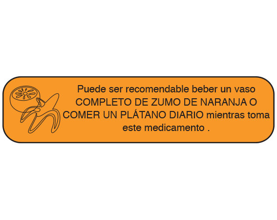 """Orange 3/8"""" x 1-1/2"""" Pharmacy Auxiliary Labels for Prescription Containers - Spanish Version  - With Imprint: (Spanish) IT MAY BE ADVISABLE TO DRINK / A FULL GLASS OF ORANGE JUICE / OR EAT A BANANA DAILY WHILE / TAKING THIS MEDICATION."""