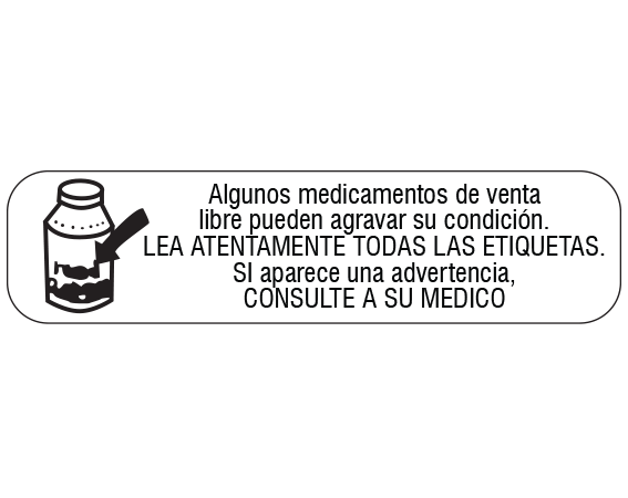 """White 3/8"""" x 1-1/2"""" Pharmacy Auxiliary Labels for Prescription Containers - Spanish Version  - With Imprint: SOME NONPRESCRIPTION DRUGS MAY / AGGRAVATE YOUR CONDITION. / READ ALL LABELS CAREFULLY. / IF A WARNING APPEARS"""