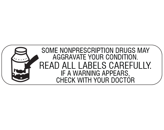 """White 3/8"""" x 1-1/2"""" Pharmacy Auxiliary Labels for Prescription Containers - English Version  - With Imprint: SOME NONPRESCRIPTION DRUGS MAY / AGGRAVATE YOUR CONDITION. / READ ALL LABELS CAREFULLY. / IF A WARNING APPEARS"""