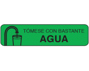 """Green 3/8"""" x 1-1/2"""" Pharmacy Auxiliary Labels for Prescription Containers - Spanish Version  - With Imprint: (Spanish) Medication should be taken with plenty of water"""