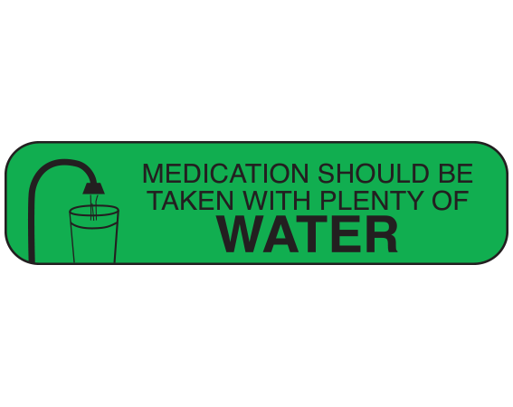 """Green 3/8"""" x 1-1/2"""" Pharmacy Auxiliary Labels for Prescription Containers - English Version  - With Imprint: Medication should be taken with plenty of water"""