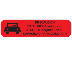 """Red 3/8"""" x 1-1/2"""" Pharmacy Auxiliary Labels for Prescription Containers - Spanish Version  - With Imprint: (Spanish) CAUTION / THIS DRUG ALONE OR WITH / ALCOHOL MAY IMPAIR YOUR / ABILITY TO DRIVE"""