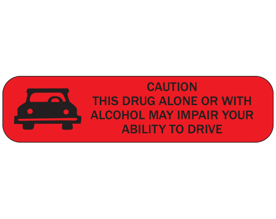 """Red 3/8"""" x 1-1/2"""" Pharmacy Auxiliary Labels for Prescription Containers - English Version  - With Imprint: CAUTION / THIS DRUG ALONE OR WITH / ALCOHOL MAY IMPAIR YOUR / ABILITY TO DRIVE"""
