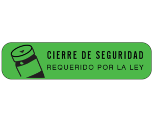 """Green 3/8"""" x 1-1/2"""" Pharmacy Auxiliary Labels for Prescription Containers - Spanish Version  - With Imprint: (Spanish) SAFETY CLOSURE / REQUIRED BY LAW"""