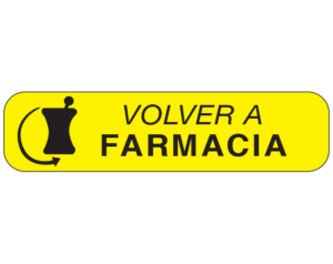 """Yellow 3/8"""" x 1-1/2"""" Pharmacy Auxiliary Labels for Prescription Containers - Spanish Version  - With Imprint: (Spanish) RETURN TO / PHARMACY"""