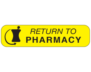 """Yellow 3/8"""" x 1-1/2"""" Pharmacy Auxiliary Labels for Prescription Containers - English Version  - With Imprint: RETURN TO / PHARMACY"""