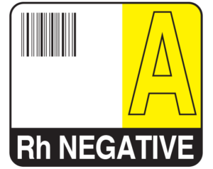 """White 1-1/2"""" x 1-3/4"""" Bar Coded Group Type Blood Identification Labels - Codabar  - With Imprint: A / Rh NEGATIVE"""