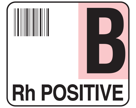 """White 1-1/2"""" x 1-3/4"""" Bar Coded Group Type Blood Identification Labels - Codabar  - With Imprint: B / Rh POSITIVE"""
