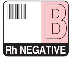 """White 1-1/2"""" x 1-3/4"""" Bar Coded Group Type Blood Identification Labels - Codabar  - With Imprint: B / Rh NEGATIVE"""