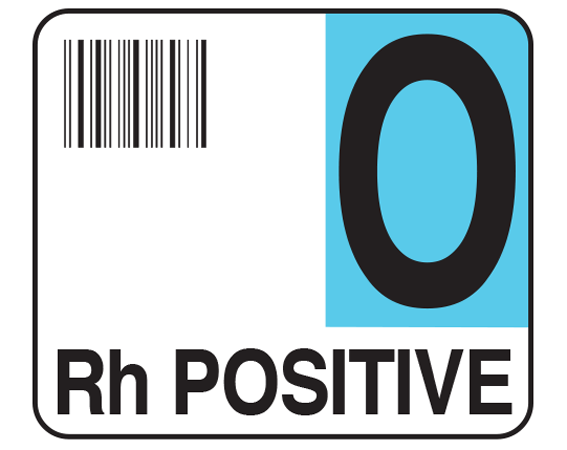 """White 1-1/2"""" x 1-3/4"""" Bar Coded Group Type Blood Identification Labels - Codabar  - With Imprint: O / Rh POSITIVE"""
