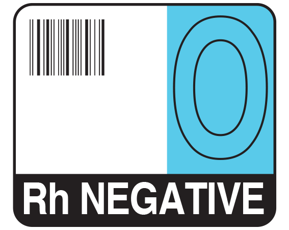 """White 1-1/2"""" x 1-3/4"""" Bar Coded Group Type Blood Identification Labels - Codabar  - With Imprint: O / Rh NEGATIVE"""