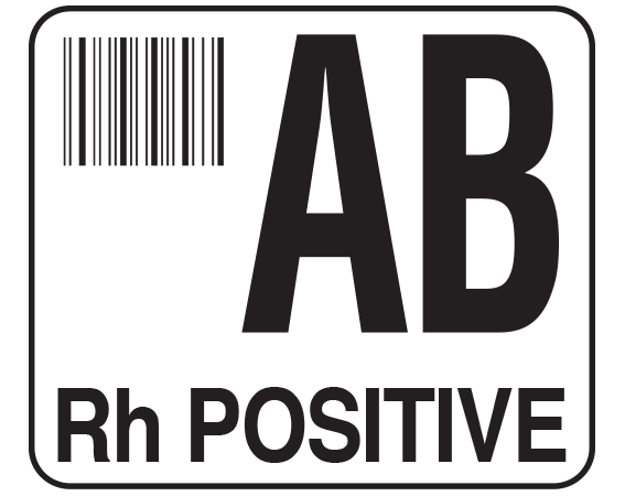 """White 1-1/2"""" x 1-3/4"""" Bar Coded Group Type Blood Identification Labels - Codabar  - With Imprint: AB / Rh POSITIVE"""