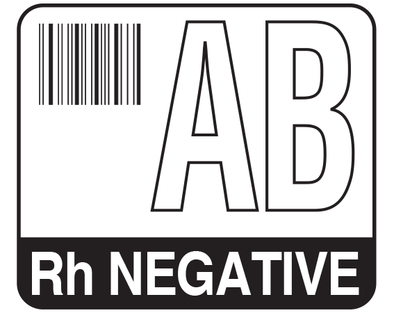 """White 1-1/2"""" x 1-3/4"""" Bar Coded Group Type Blood Identification Labels - Codabar  - With Imprint: AB / Rh NEGATIVE"""