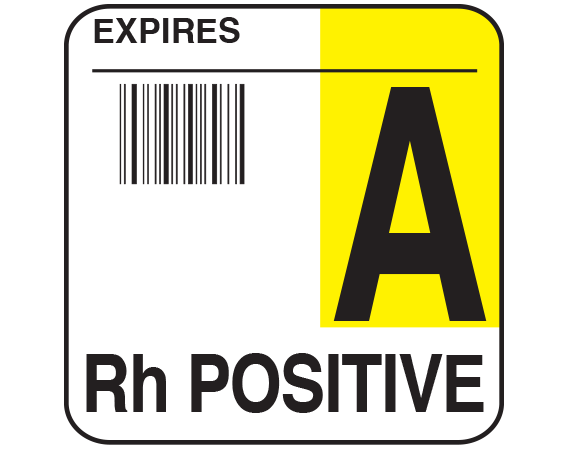 """White 1-3/4"""" x 1-3/4"""" Bar Coded Group Type Blood Identification Labels - Codabar  - With Imprint: EXPIRES / A / Rh POSITIVE"""