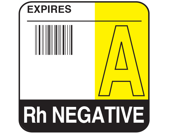 """White 1-3/4"""" x 1-3/4"""" Bar Coded Group Type Blood Identification Labels - Codabar  - With Imprint: EXPIRES / A / Rh NEGATIVE"""