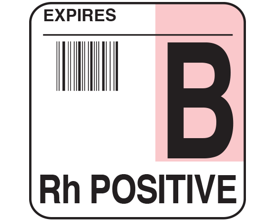 """White 1-3/4"""" x 1-3/4"""" Bar Coded Group Type Blood Identification Labels - Codabar  - With Imprint: EXPIRES / B / Rh POSITIVE"""
