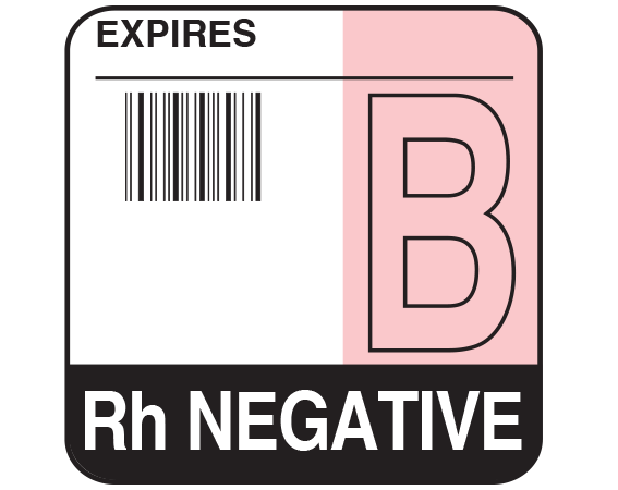"""White 1-3/4"""" x 1-3/4"""" Bar Coded Group Type Blood Identification Labels - Codabar  - With Imprint: EXPIRES / B / Rh NEGATIVE"""