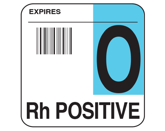 """White 1-3/4"""" x 1-3/4"""" Bar Coded Group Type Blood Identification Labels - Codabar  - With Imprint: EXPIRES / O / Rh POSITIVE"""