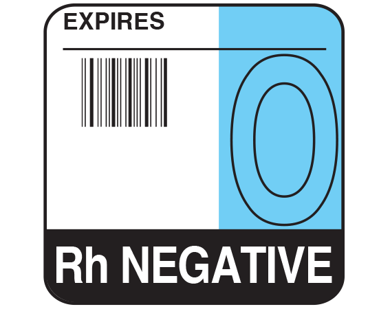 """White 1-3/4"""" x 1-3/4"""" Bar Coded Group Type Blood Identification Labels - Codabar  - With Imprint: EXPIRES / O / Rh NEGATIVE"""