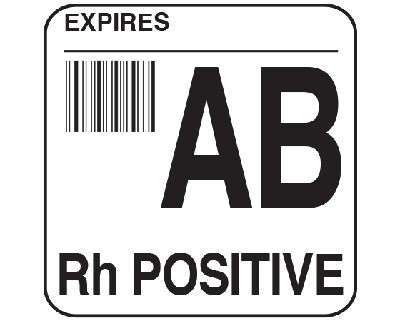 """White 1-3/4"""" x 1-3/4"""" Bar Coded Group Type Blood Identification Labels - Codabar  - With Imprint: EXPIRES / AB / Rh POSITIVE"""