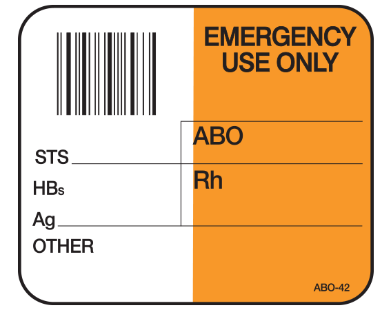 """White 1-1/2"""" x 1-3/4"""" Bar Coded Information Labels for Blood Testing - Codabar  - With Imprint: EMERGENCY / USE ONLY / _____ / ABO / STS _____ / HBs / Ag _____ / OTHER"""