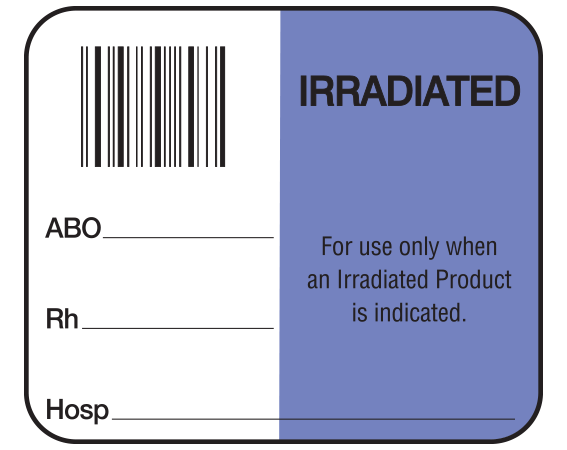 """White 1-1/2"""" x 1-3/4"""" Bar Coded Information Labels for Blood Testing - Codabar  - With Imprint: IRRADIATED / ABO _____ / Rh _____ / For use only when / an Irradiated Product / is indicated. / Hosp _____"""