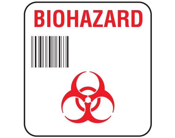 """White 1-7/8"""" x 1-3/4"""" Bar Coded Information Labels for Blood Testing - Codabar  - With Imprint: BIOHAZARD"""
