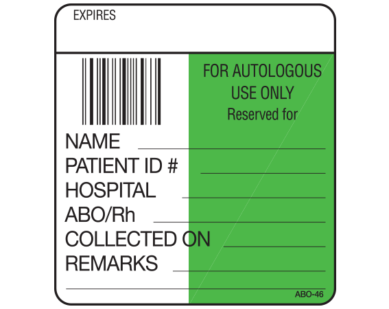 """White 1-7/8"""" x 1-3/4"""" Bar Coded Information Labels for Blood Testing - Codabar  - With Imprint: EXPIRES / FOR AUTOLOGOUS / USE ONLY / Reserved for / NAME _____ / PATIENT ID # _____ / HOSPITAL _____ / ABO/Rh _____ / COLLECTED ON _____ / REMARKS _____ / __________"""