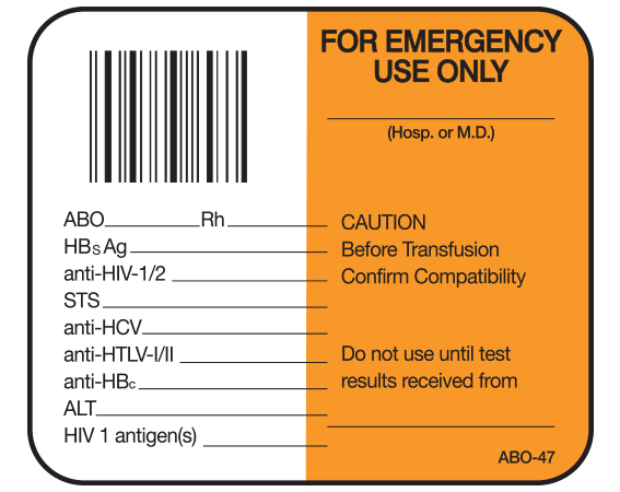 """White 1-1/2"""" x 1-3/4"""" Bar Coded Information Labels for Blood Testing - Codabar  - With Imprint: FOR EMERGENCY / USE ONLY / _____ / ( Hosp. Or M.D. ) / ABO___ Rh ___ / HBsAg _____ / anti-HIV-1/2 _____ / STS _____ / anti-HCV _____ / anti-HTLV-l/ll _____ / anti-HBc _____ / ALT _____ / HIV-1 antig"""
