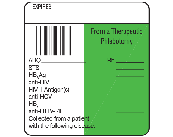 """White 1-7/8"""" x 1-3/4"""" Bar Coded Information Labels for Blood Testing - Codabar  - With Imprint: EXPIRES / From a Therapeutic / Phlebotomy / Rh _____ / ABO _____ / STS / HBsAg / anti-HCV / ..."""