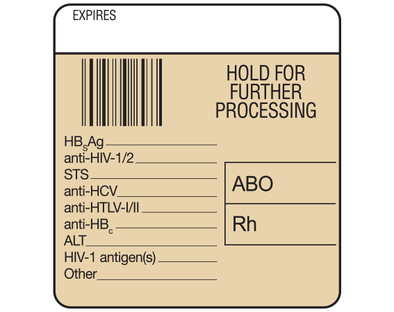 """White 1-7/8"""" x 1-3/4"""" Bar Coded Information Labels for Blood Testing - Codabar  - With Imprint: EXPIRES / HOLD FOR / FUTHER / PROCESSING / ABO / Rh / HBsAg _____ / anti-HIV-1/2_____ / ..."""