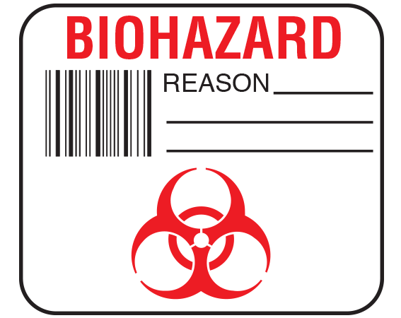 """White 1-1/2"""" x 1-3/4"""" Bar Coded Information Labels for Blood Testing - Codabar  - With Imprint: BIOHAZARD / REASON _____ / _____ / _____"""