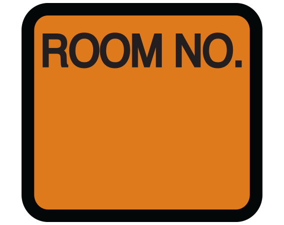 """Copper 1-3/8"""" x 1-1/2"""" Patient Chart Room Number Labels  - With Imprint: ROOM NO."""
