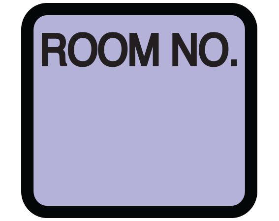 "Violet 1-3/8"" x 1-1/2"" Patient Chart Room Number Labels  - With Imprint: ROOM NO."