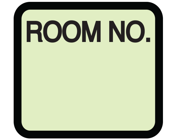 """Lime 1-3/8"""" x 1-1/2"""" Patient Chart Room Number Labels  - With Imprint: ROOM NO."""