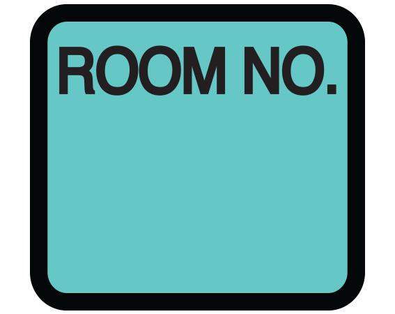 """Aqua 1-3/8"""" x 1-1/2"""" Patient Chart Room Number Labels  - With Imprint: ROOM NO."""