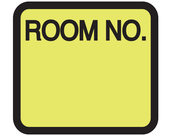 """Chartreuse 1-3/8"""" x 1-1/2"""" Patient Chart Room Number Labels  - With Imprint: ROOM NO."""