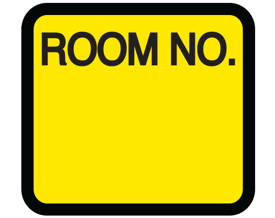 """Yellow 1-3/8"""" x 1-1/2"""" Patient Chart Room Number Labels  - With Imprint: ROOM NO."""