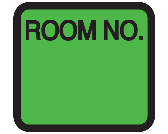 """Green 1-3/8"""" x 1-1/2"""" Patient Chart Room Number Labels  - With Imprint: ROOM NO."""