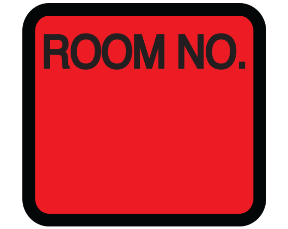 """Red 1-3/8"""" x 1-1/2"""" Patient Chart Room Number Labels  - With Imprint: ROOM NO."""