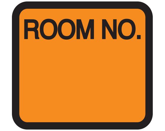 """Orange 1-3/8"""" x 1-1/2"""" Patient Chart Room Number Labels  - With Imprint: ROOM NO."""