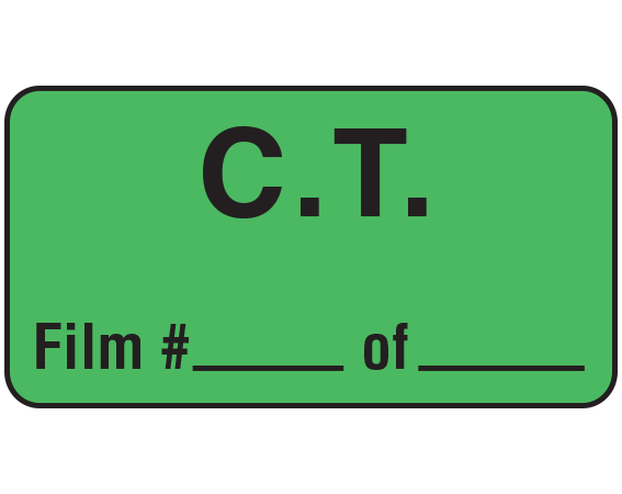"""Green 3/4"""" x 1-1/2"""" C.T. Communication Labels  - With Imprint: C.T. / Film # _____ of _____"""