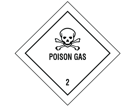 """White 7/8"""" x 7/8"""" Hazardous Package Contents Transportation Warning Labels  - With Imprint: POISON GAS / 2"""