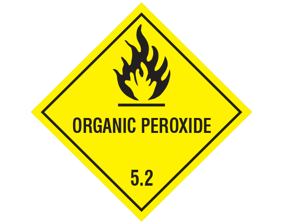 """Yellow 7/8"""" x 7/8"""" Hazardous Package Contents Transportation Warning Labels  - With Imprint: ORGANIC PEROXIDE / 5.2"""