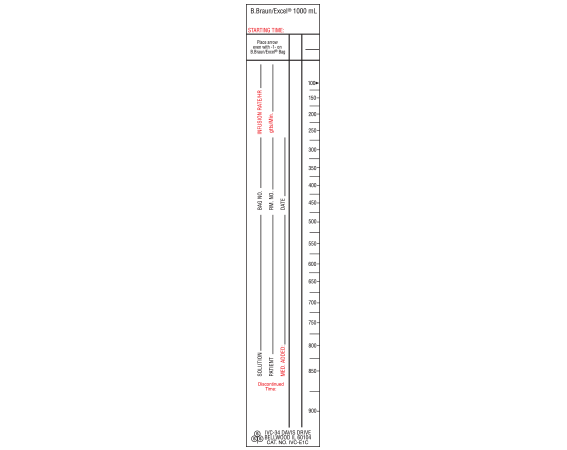 """White 9 """" x 1-1/2"""" Intravenous Check Labels for Patient and Solution Identification  - With Imprint: B.Braun/Excel 1000 mL (NARROW) STYLE C"""