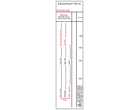 """White 6 """" x 1-1/2"""" Intravenous Check Labels for Patient and Solution Identification  - With Imprint: B.Braun/Excel 250 mL (NARROW) STYLE C"""