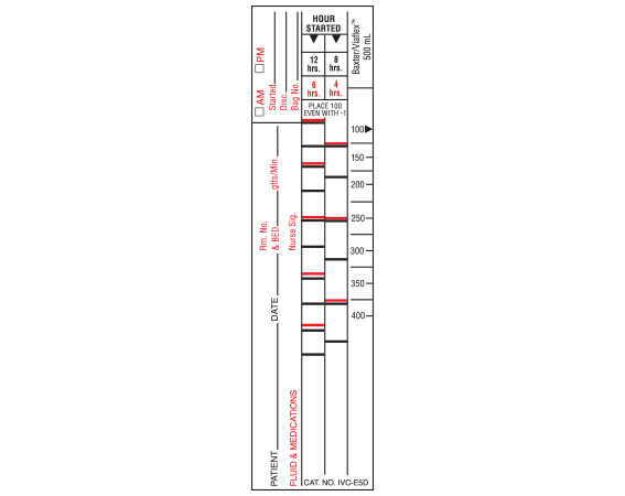 """White 6 """" x 1-1/2"""" Intravenous Check Labels for Patient and Solution Identification  - With Imprint: B.Braun/Excel 500 mL (NARROW) STYLE D"""