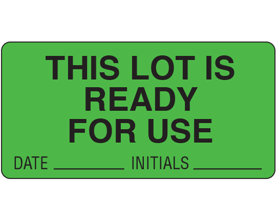 """Fluorescent Green 1-1/2"""" x 3"""" Lot Signal Labels for Use in the Laboratory  - With Imprint: THIS LOT IS / READY / FOR USE / DATE _____ INITIALS _____"""