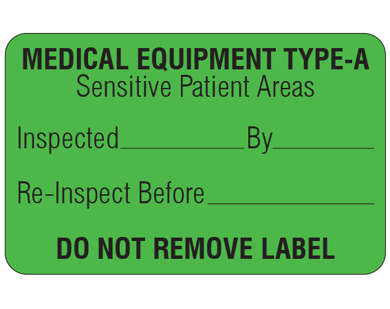 """Green 1-1/8 """" x 1-3/4"""" Biomedical Engineering Equipment Labels  - With Imprint: MEDICAL EQUIPMENT TYPE-A / Sensitive Patient Areas / Inspected _____ By _____ / Re-Inspect Before _____ / DO NOT REMOVE LABEL"""