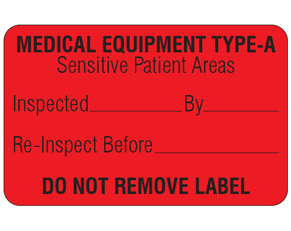 """Red 1-1/8 """" x 1-3/4"""" Biomedical Engineering Equipment Labels  - With Imprint: MEDICAL EQUIPMENT TYPE-A / Sensitive Patient Areas / Inspected _____ By _____ / Re-Inspect Before _____ / DO NOT REMOVE LABEL"""